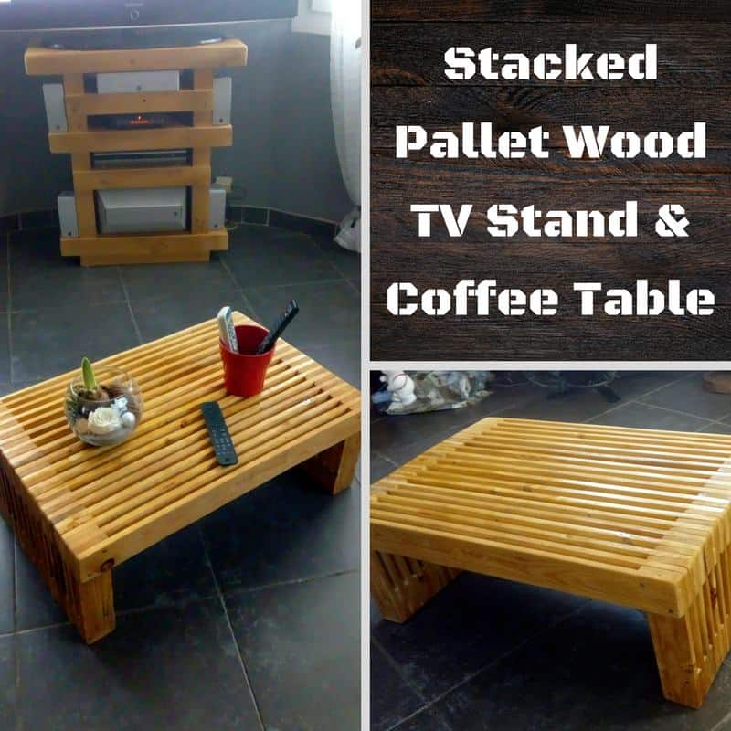 Stack 'em Up: Pallet Strips TV Stand & Coffee Table • 1001