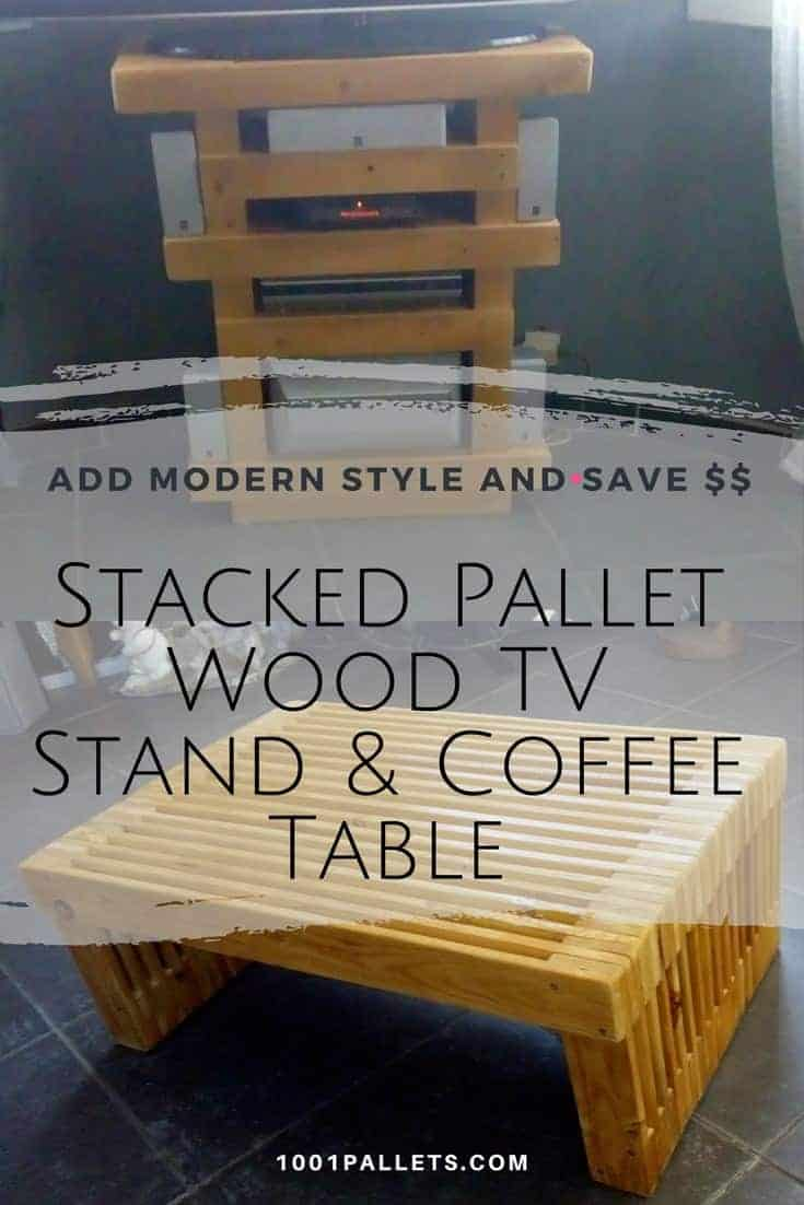 Get a modern look from rustic, upcycled pallets! Create Stacked Pallet Wood Furniture like this TV Stand with AV storage and a stunning coffee table. Plane the wood, cut to length, sand, and start stacking 'em up! #diypalletideas #palletwood