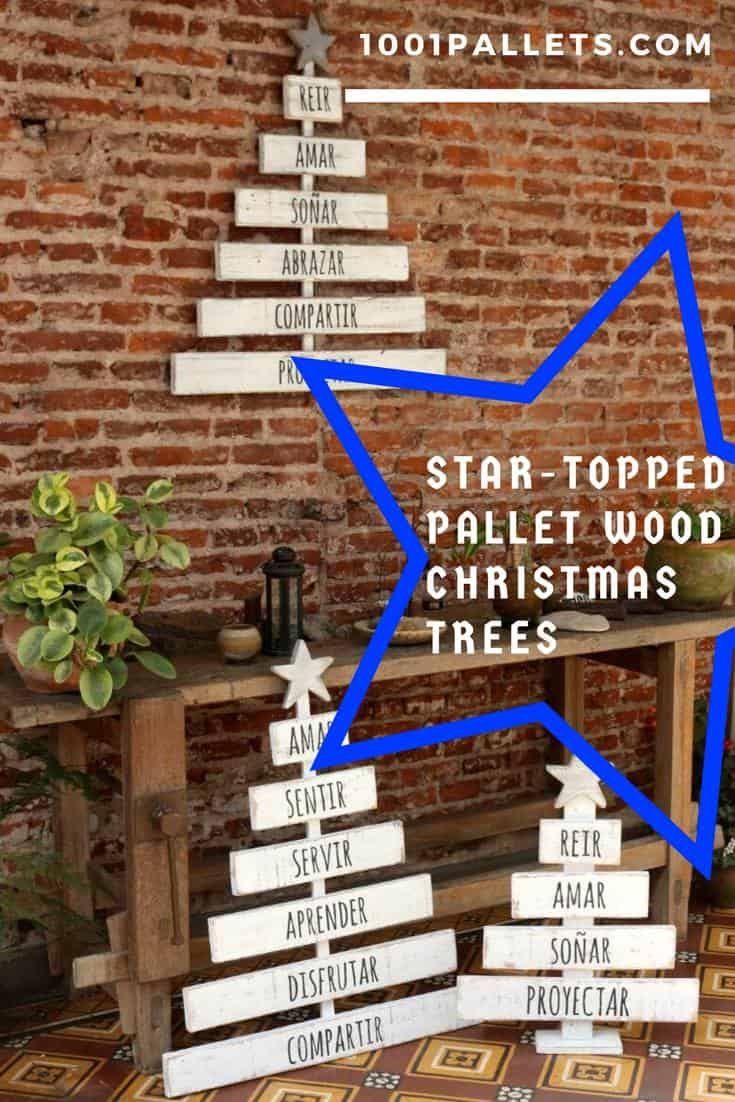 You've only got 340 or so days until Christmas! Start making your holiday decor special with these darling little Star-Topped Pallet Christmas Trees and have the best decor in the neighborhood! #pallettree #christmastree  #palletdecor