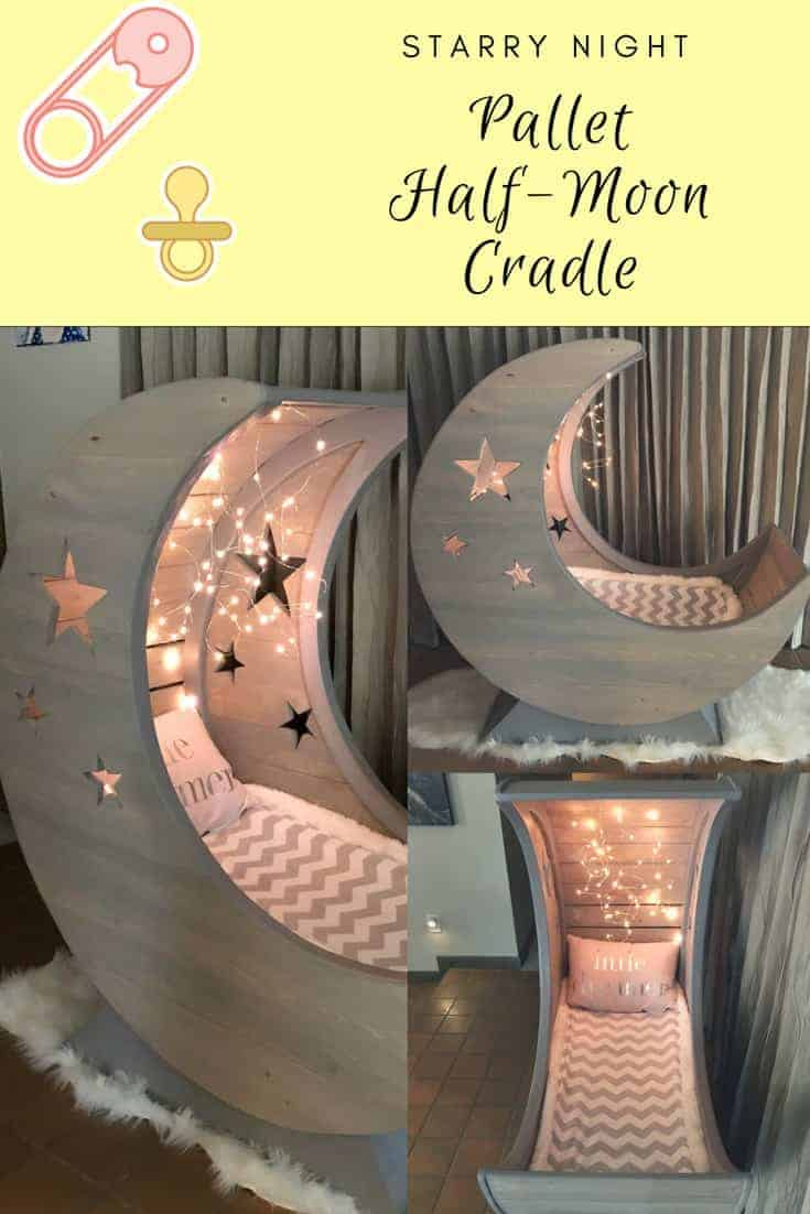 Don't wish on stars! Build a Starry Pallet Half-Moon Cradle instead! The frame is MDF, covered with pallets, and then whitewashed for a beautiful finish. Add soft white lighting or a mobile for the baby, and the project is complete! #diy #cradle #pallet #woodworking #diy #bedroom
