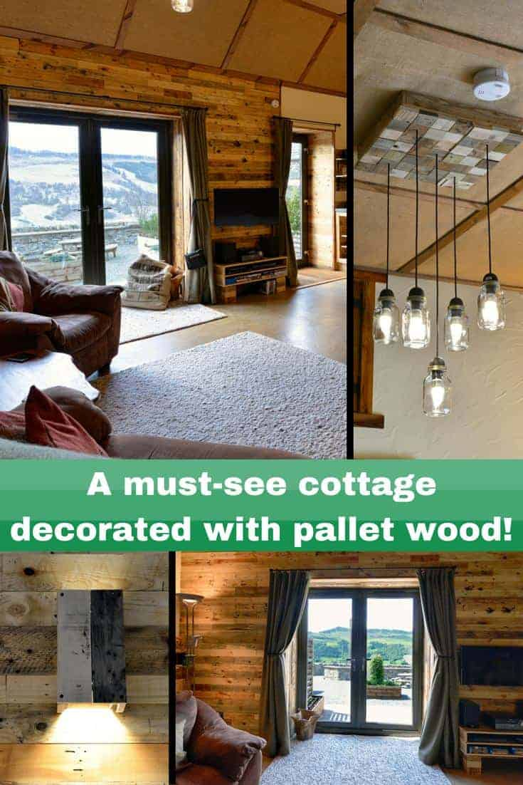 An Inspirational cottage decorated with pallets everywhere! From the walls to the kitchen, to the bathroom and even outdoor decor is all made of pallet wood! Add warmth and beauty while saving money using pallets in your home decor! #pallets #homedécor #cottage