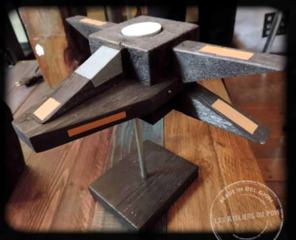 Pallet Candle Holders like this X-Wing Fighter made from pallet blocks adds sci-fi whimsy to your home.