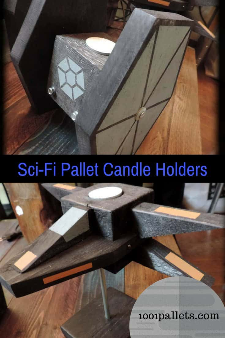 The pallet force is strong, and you'll choose the light side with these Sci-Fi Pallet Candle Holders! Get your geek on and show 'em your super-fan status! Upcycle those pallet blocks and scraps while having fun! #palletcandleholder #awesome #starwars #woodworking