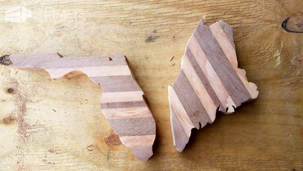 Make Pallet States using scrap pallet wood that is stacked together and glued, cut out, sanded and oiled.