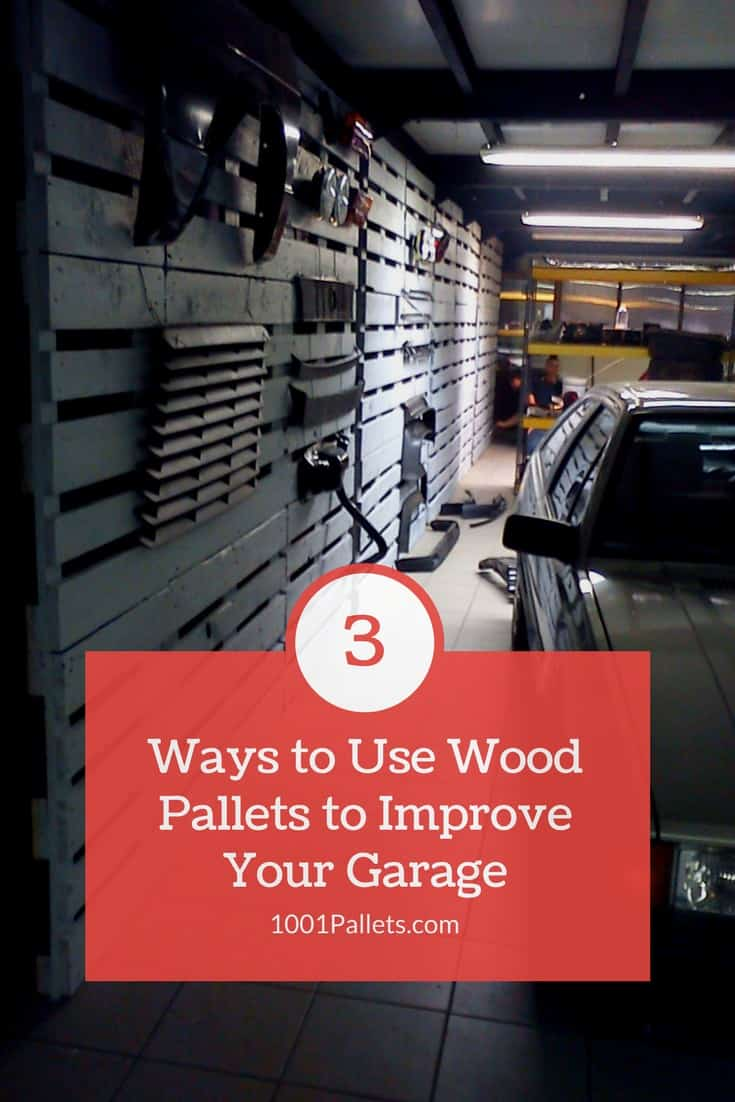 3 simple & efficient ways to improve your garage at no cost with recycled pallet wood! #garage #pallets #woodworking #shelves #storage