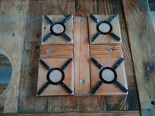 This Cute Kitchen Play Set features a mock gas stovetop created from scrap lumber.