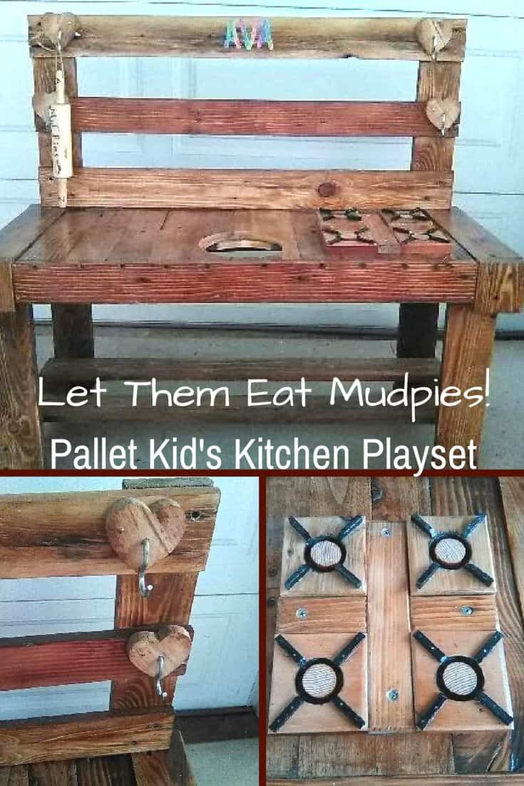 It's mudpie time! Build a Pallet Kid's Play Kitchen Set! It features a mock gas stovetop, a kitchen supplies rack & a wastebin receptacle hole cut into the top! Add your child's initials, and add a few pots and pans, and let fun times begin!