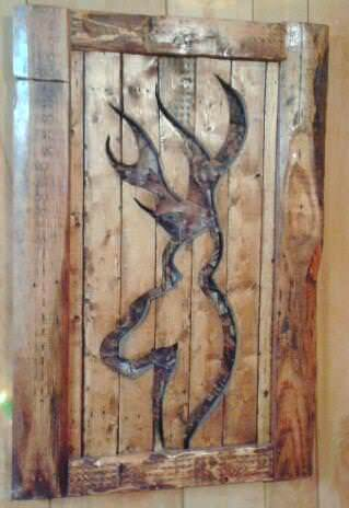 Camo Backed Deer Shaped Cutout Pallet Wall Art