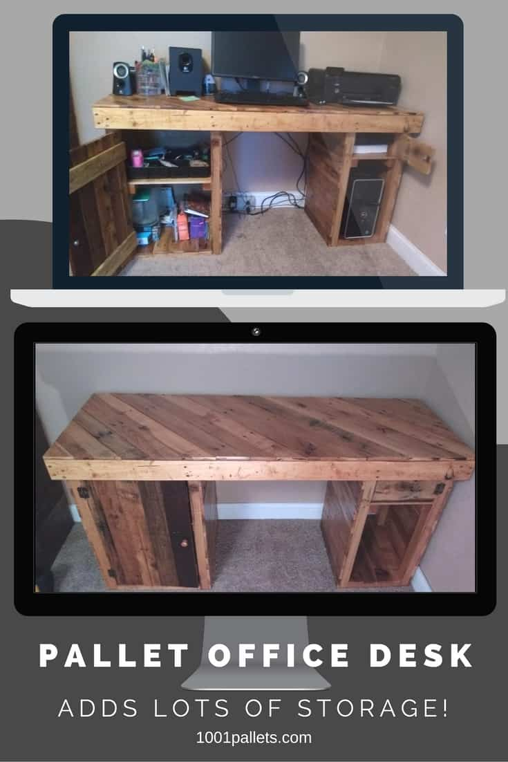 Create a custom-made Pallet Office Desk and save money! This desk features plenty of storage, a diagonal table top, and a gorgeous Golden Pecan stain. One section is left open for proper ventilation around the tower. #diypalletdesk #pallets