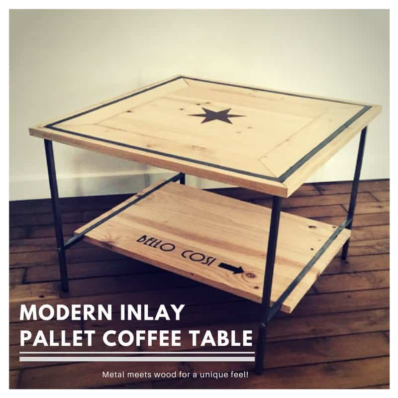 Metal-framed Pallet Inlay Coffee Table • 1001 Pallets