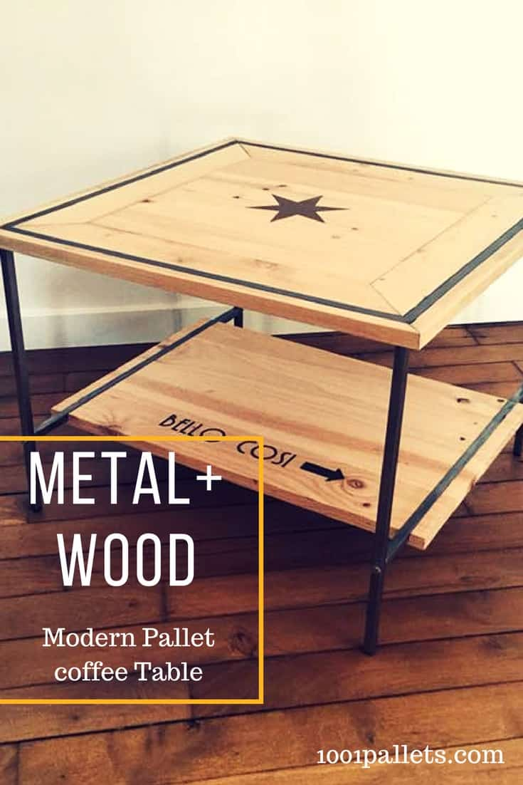 Combine metal and wood in a modern inlay coffee table! With an open, light feel, the metal frame provides sturdy support. The wood was sanded smooth & mitered. #modernpallettable #palletcoffeetable #woodinlayfurniture #diypalletfurniture