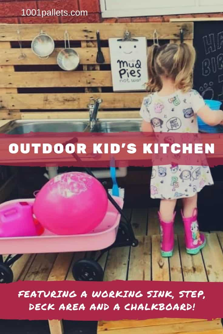 Get dirty & have good clean fun with a Pallet Kid's Kitchen! Pick up an old sink and a few simple plumbing parts for a fun activity center for the kids! This project would be great as a potting bench so you can water the plants & wash hands!