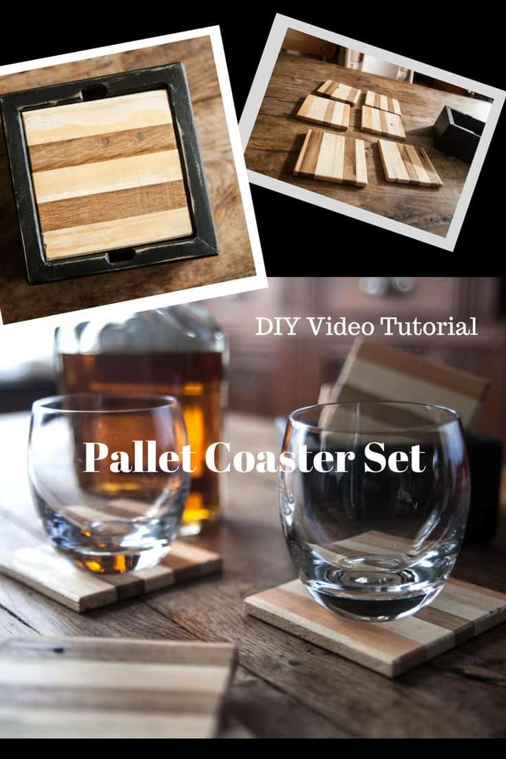 Raise your glasses (and set them down) on a set of stunning Pallet Coasters with an attractive caddy! Alternate pine & oak for a two-toned look! #palletcoasters #diypalletgiftideas #diyvideotutorial #makethisyourself #palletsrock!