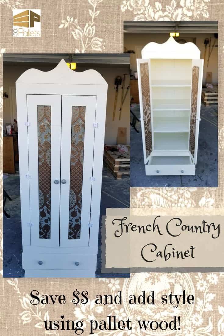 Can you believe this French Country Cabinet is Pallet Wood? Watch the DIY Video Tutorial & learn how to make a cabinet like this for your home! Add punched tin & have a country pie safe, or add glass and have a curio cabinet. #diypalletideas