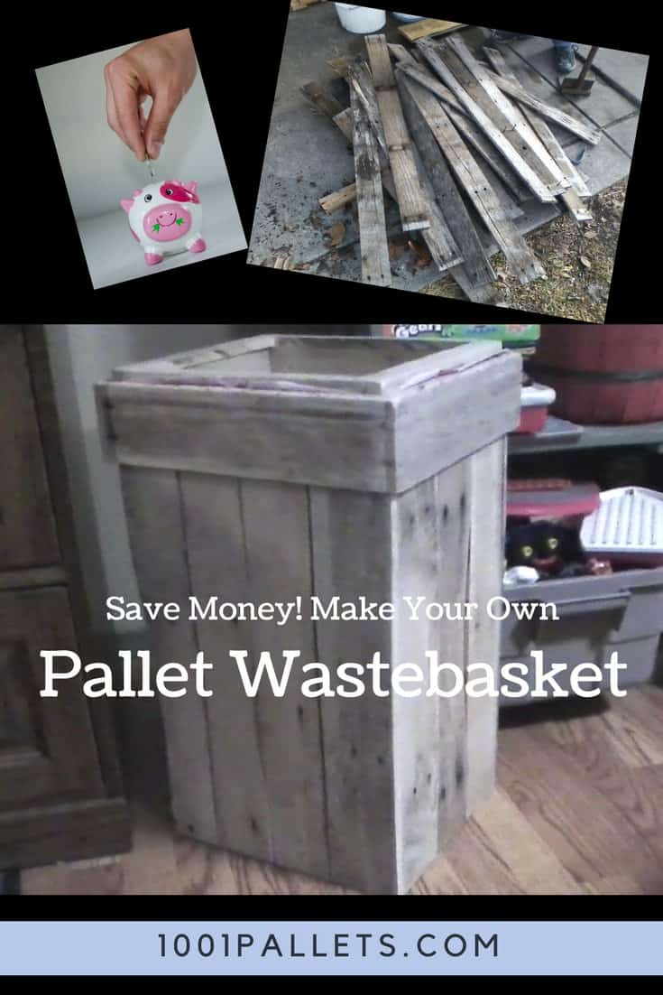 Save money and keep your home neat with a Pallet Wastebasket! The rustic, weathered finish lends itself to any indoor or outdoor space. The rim holds a plastic trash bag in place.  #palletwastebasket #diypalletideas #pallettrashcan