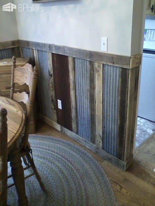 Make your own Wainscoting and save money! Upcycle tin and wood for a unique look.