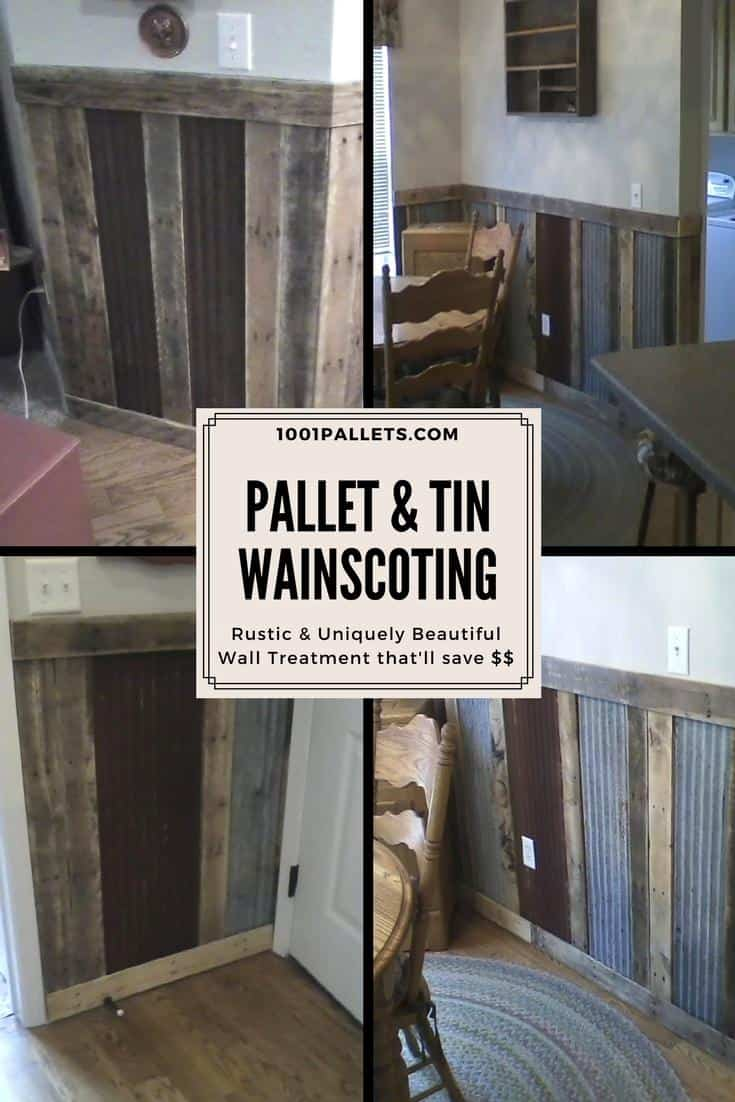 Build a beautiful DIY Pallet Wood & upcycled Tin Wainscoting! Get creative and network with friends and neighbors! You may get the tin for free like I did! I covered the edges of the tin, particularly around the corners. #diywainscoting