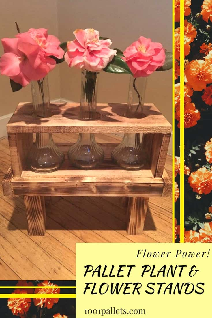 Pretty Pallet Plant & Flower Planters, burned & stained! With a few simple tools, you can make a vase holder, planter, or display frame. Hold small or large vases. Finally a use for those vases you have stashed away! #diypalletflowerstand
