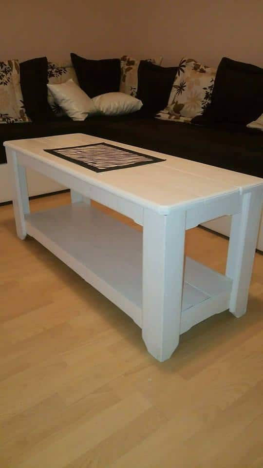 Sleek Coffee Table is finished with white paint, but would look great stained or just left natural.