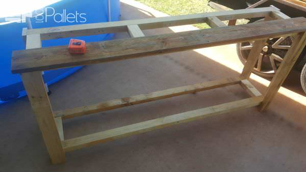 The frame of the 5-pallet Rustic Buffet with a test board to check to fit.