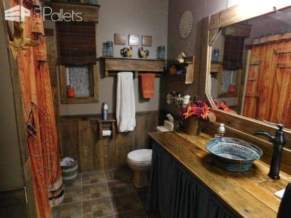 Stupendous Rustic Pallet Bathroom Transformation! Pallet Cabinets & Wardrobes Pallet Home Décor Ideas