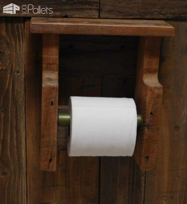 A pallet wood holder/dispenser for the most important paper in the Rustic Pallet Bathroom.
