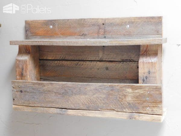 One of the completed storage shelves in my Rustic Pallet Bathroom.