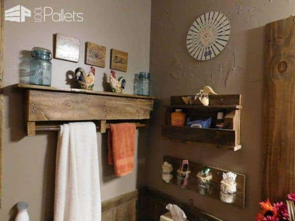 Towel racks and other storage shelves, artwork, and organization ideas for my Rustic Pallet Bathroom.