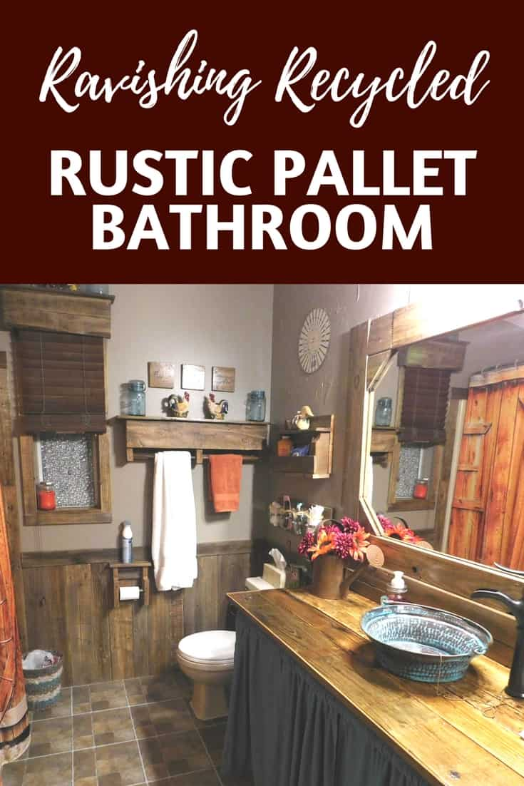 From boring to unbelievable: Complete Rustic Pallet Bathroom! Build a vanity, mirror frame, towel racks, shelving, wall trim and more using pallet wood. #diypalletprojects #diypalletbathroom #diybathroomvanity #diymirrorframe #diytowelrack