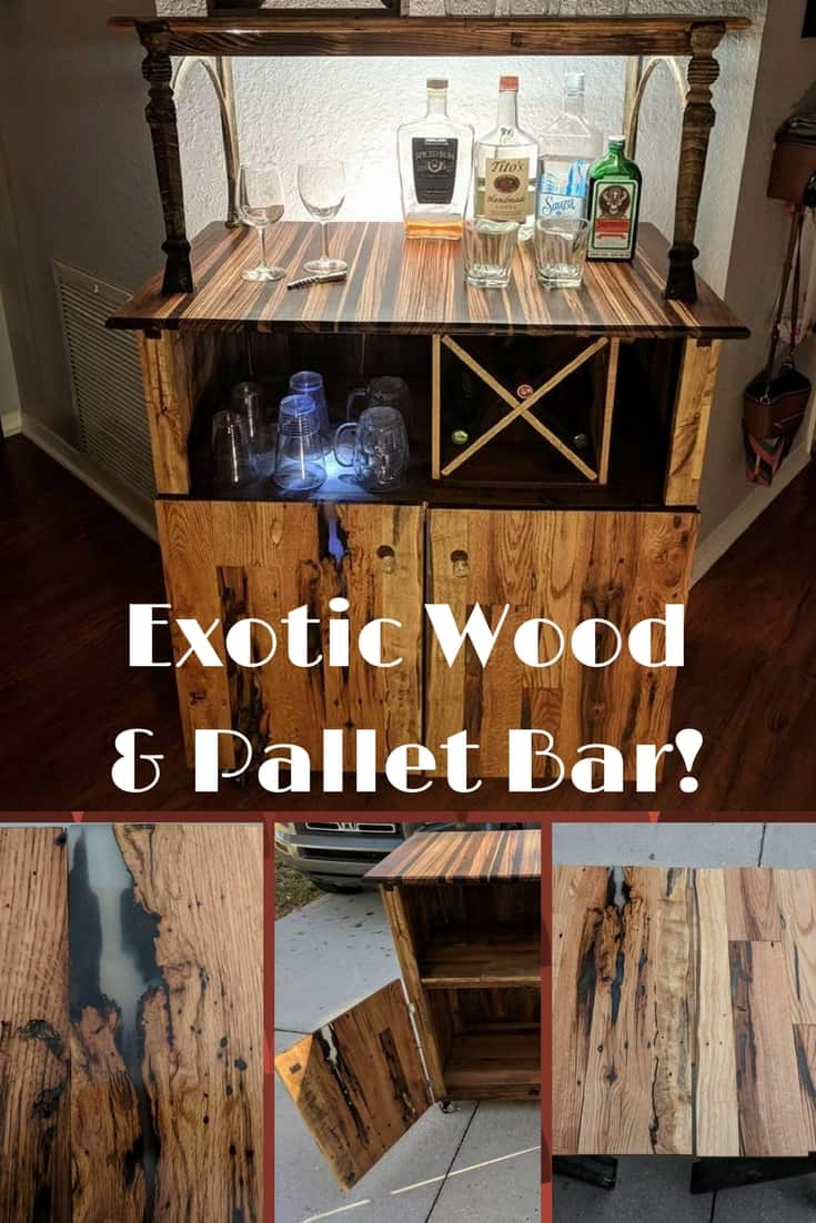 Combine exotic wood & wormhole pallet wood into a cool Bar! I used zebra wood, ipe wood, & combined it with delicate wormhole pallet boards for a beautiful bar! #palletbar #wormholebar #zebrawood #diypalletbar