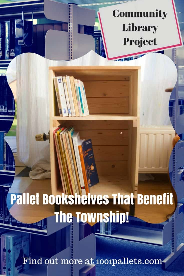 5 Mini pallet bookshelves become a community library system! We built five bookshelves & placed them around businesses in town for people to take & leave books! They're a simple project, but the idea is great for a small town or village!