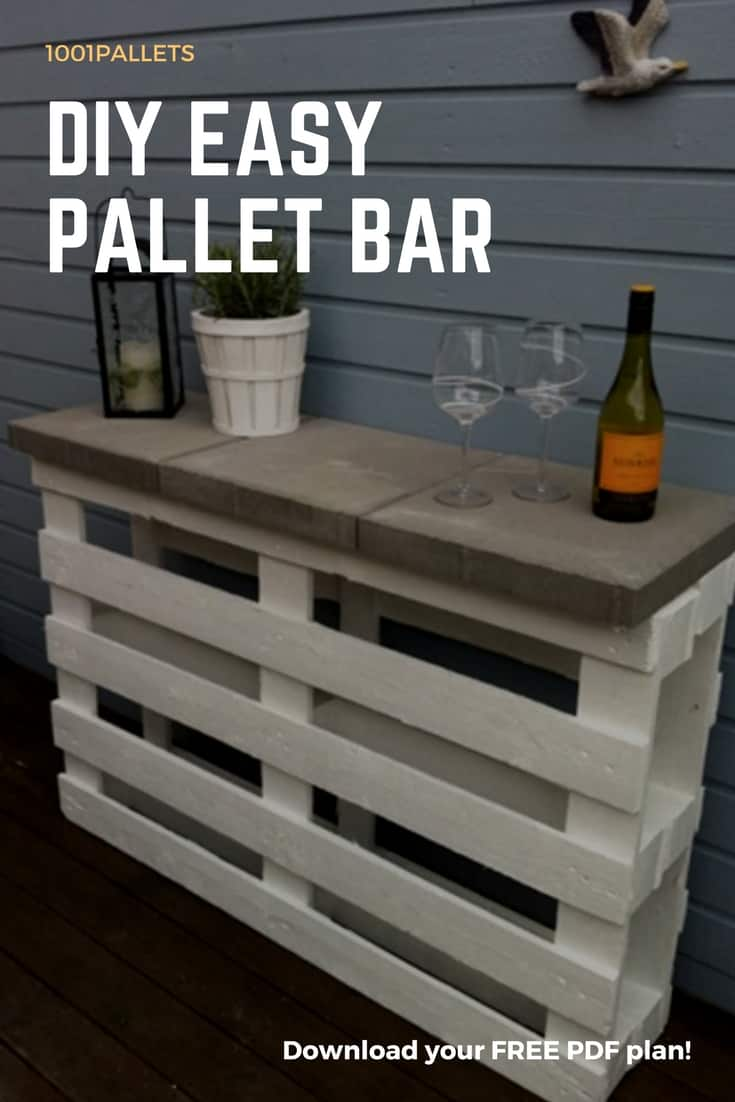 Diy easy pallet bar plans free pallet tutorials 1001 for Diy balcony bar