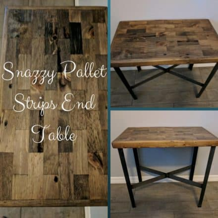 Metal Leg Pallet Strips End Table