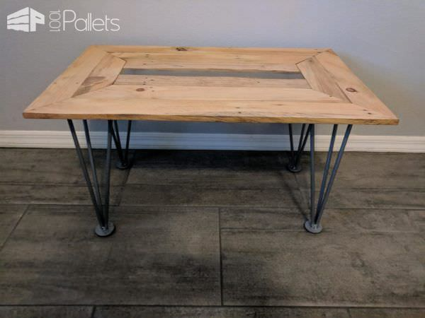 Live-edge Pallet Coffee Table features hand-made hairpin legs.