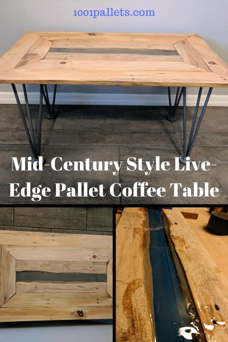 This Live-edge epoxy-filled mid-century pallet coffee table will wow you! It features hand-made legs with a nod to those mid-century hairpin legged tables. The center features those two live-edge boards filled with epoxy for a modern twist!