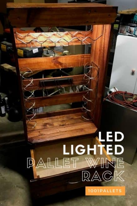 Original Led Lighted Pallet Wine & Glasses Rack