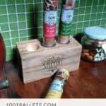 Pallet Block Becomes Decorative Spice Bottle Holder