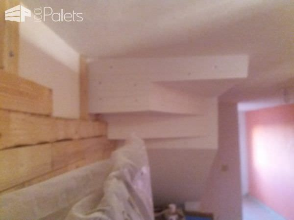 The Pallet Focal Wall is almost complete, and the bottom side of the stairs are next.