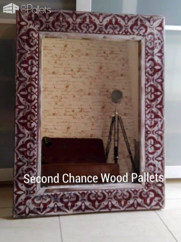 Pallet Wood Stenciled Frame For Beautiful Vintage Mirror Pallet Home Accessories