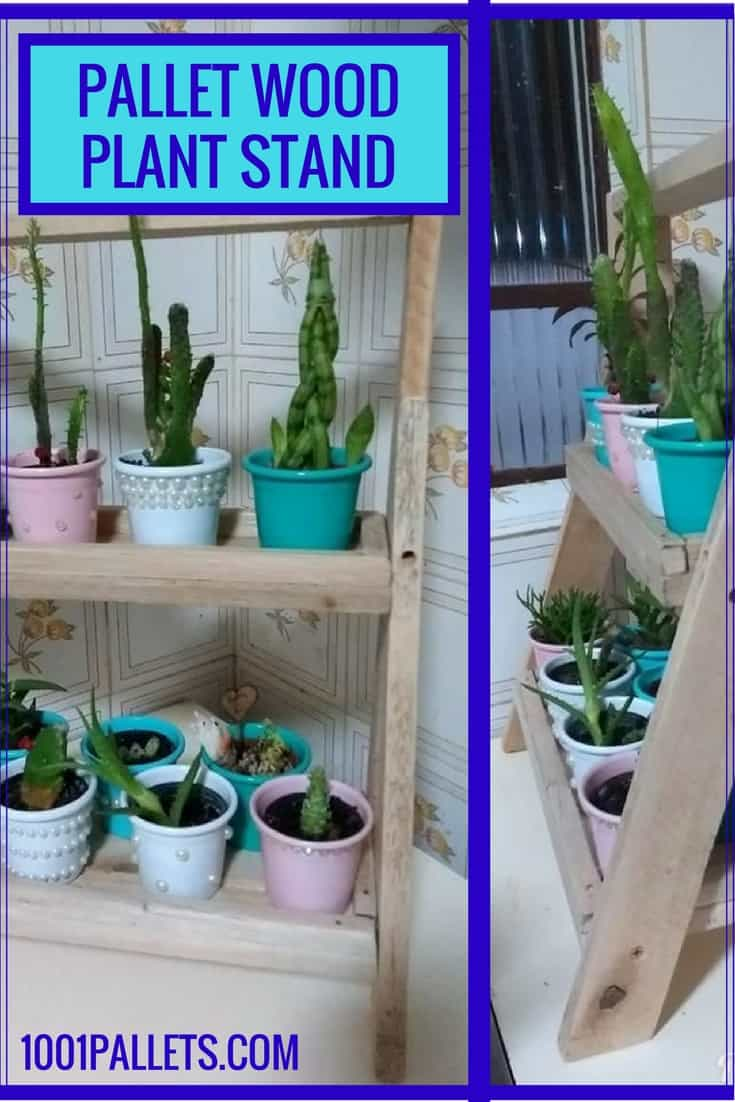 Build a little indoor plant stand using pallets! This project takes a few hours & can be used for books, knick-knacks and more items you want to display. #diypalletprojects #diypalletplantstand #diypalletshelf #1001pallets #palletsrock