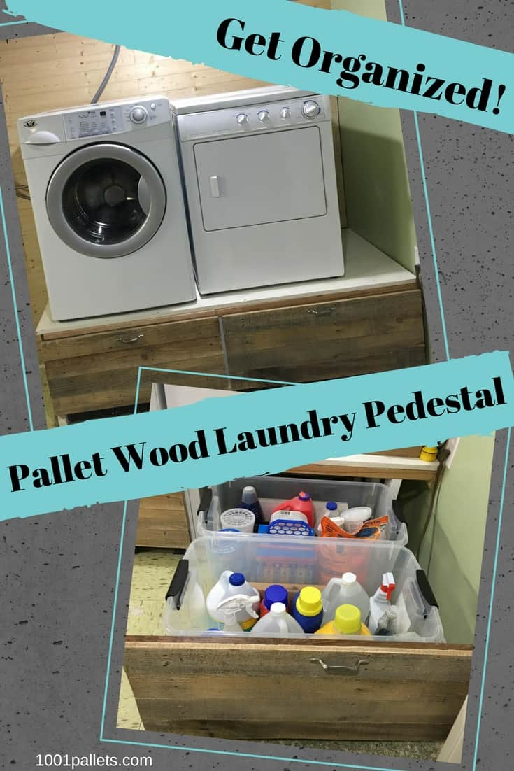 Save your back and save a lot of money when you build a handy Pallet Wood Laundry Pedestal!It features two large storage drawers to keep your laundry neat! #laundry #diyorganization #diypalletprojects #getorganized #savemoney #1001pallets