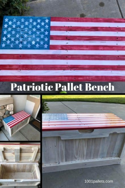 Patriotic Pallet Bench Features Hidden Storage