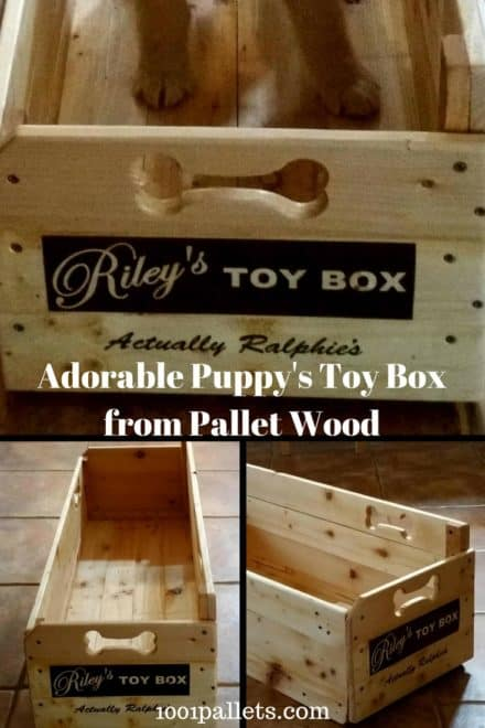 Riley & Ralphie's Pallet Wood Puppy Toy Box!