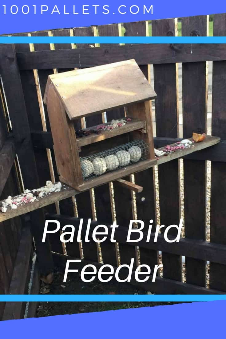 Help the local birds this winter with a pallet bird feeder. You only need 3 pallet boards to build this project, and you probably have scraps that would work. This is a fast and easy project to make and would be great with the kiddies!