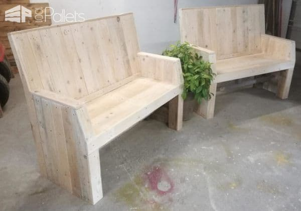 this sophisticated pallet bench set features angled armrests at the front and smooth lines throughout - Patio On A Pallet
