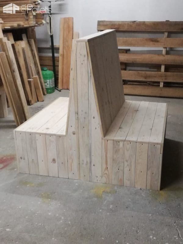 This Sophisticated Pallet Bench Set creates two benches back-to-back and adds a lot of seating in a small space.