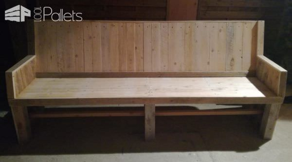 A wide Sophisticated Pallet Bench Set like this long bench adds lots of seating for larger families!