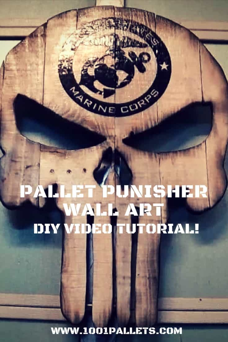 Build an amazing Pallet Wood Punisher Wall Art Piece! With a handy DIY Video Tutorial, assemble a custom gift for someone in the military or for a superfan! #diypunisher #punisher #marines #palletwoodwallart #1001pallets #diyvideotutorials