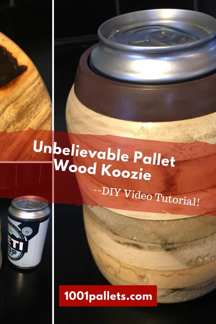 Skip the cheesy foam and make your own pallet wood koozie! Watch the DIY Video Tutorial by Dark Horse Woodworking and put those pieces of pallet wood to use! #diypalletkoozie #woodturning #1001pallets #darkhorsewoodworking #diyvideotutorial