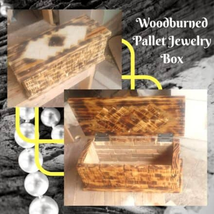 Pallet trunks diy pallet boxes chests pallet ideas 1001 pallets woodburned pallet jewelry box features wood inlay diy solutioingenieria Images